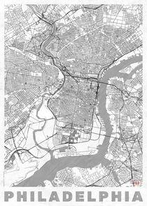 Philadelphia Map Line by Hubert Roguski