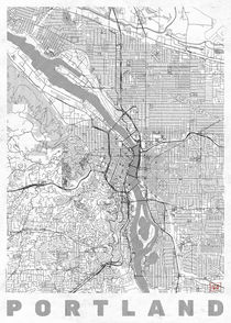 Portland Map Line by Hubert Roguski