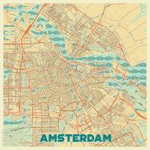 Amsterdam Map Retro von Hubert Roguski