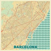 Barcelona Map Retro von Hubert Roguski