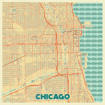 Chicago Map Retro von Hubert Roguski