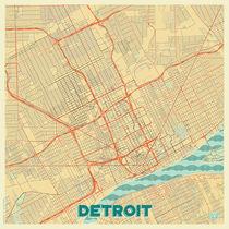 Detroit Map Retro von Hubert Roguski