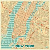 New York Map Retro von Hubert Roguski