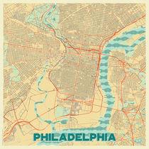 Philadelphia Map Retro von Hubert Roguski