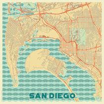 San Diego Map Retro von Hubert Roguski