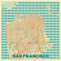 San Francisco Map Retro von Hubert Roguski