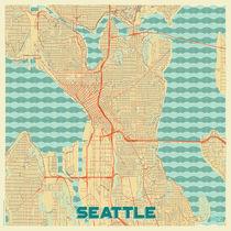 Seattle Map Retro von Hubert Roguski