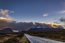 Snowcapped Cuillin Hills from road to Sligachan, shrouded in clouds by Bruce Parker