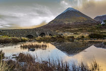 Glamaig reflected in water by the Old Bridge Sligachan, Isle of Skye Scotland by Bruce Parker