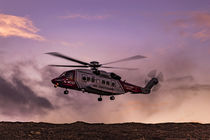 Coastguard helicopter, hovering in the air, on training exercise at Sligachan, Isle of Skye, Scotland by Bruce Parker