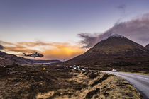 Coastguard helicopter, hovering in the air, on training exercise at Sligachan, Isle of Skye, Scotland. by Bruce Parker
