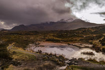 Snowcapped Cuillin Hills reflected in water at Sligachan by Bruce Parker