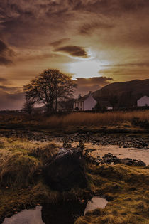 Winter sun behind Viewfield Road, Portree, Isle of Skye, across River Leasgeary by Bruce Parker