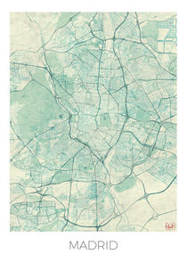 Madrid Map Blue by Hubert Roguski