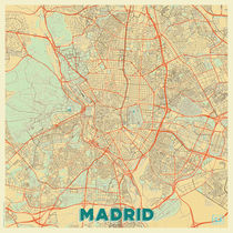Madrid Map Retro by Hubert Roguski