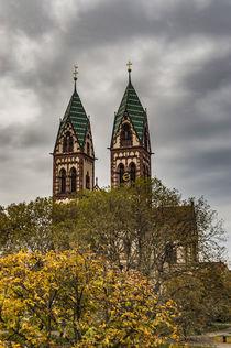 Herz-Jesu-Kirche twin towered church by Freiburg station by Bruce Parker