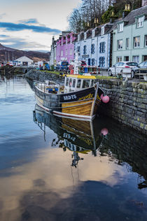 Fishing boat in Portree Harbour, in front of coloured houses von Bruce Parker