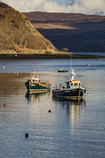Fishing boats anchored in Portree Harbour, Isle of Scotland by Bruce Parker