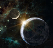 Fantasy composition of the planet Earth and the Moon by maxal-tamor