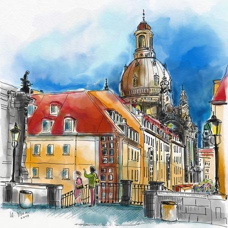 Dresden-blick-uber-die-munzgasse-zur-frauenkirche