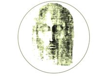 Sticker Badge of Face of Christ von jonathan-byrne