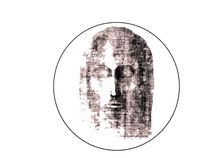 Stylised design of Face of Christ, maroon von jonathan-byrne