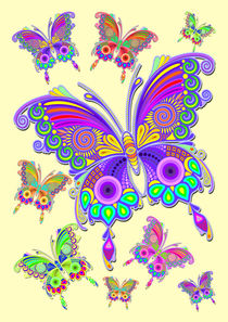 Butterfly Colorful Tattoo Style Pattern by bluedarkart-lem