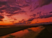 The Beach at sunset  von John Wain