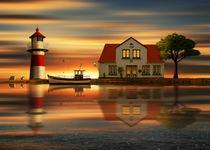Die Idylle beim Haus des Leuchtturmwärters von Monika Juengling