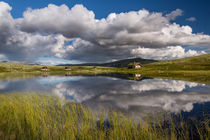 Huts on lake in landscape of Norway, Rondane NP von Bastian Linder