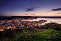 Bergen skyline from above during sunset by Bastian Linder