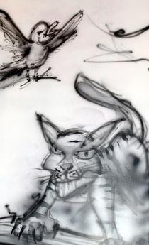 Kater mit Vogel von Edmond Marinkovic