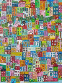 Bunte Stadt mit Blau von Viola Joisten
