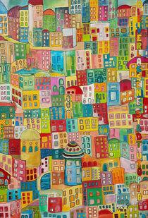 Bunte Stadt mit Fenstern von Viola Joisten