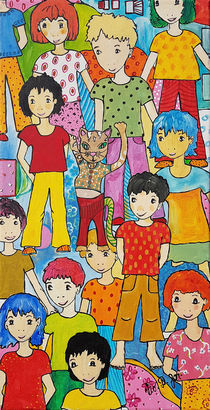 Kinder mit Katzenfigur by Viola Joisten