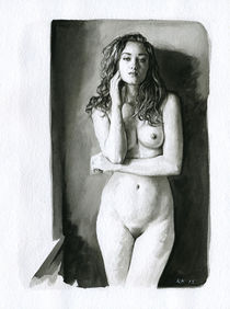 Nude study of a woman standing against a wall von Rene Bui