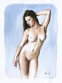 Nude study of a woman standing von Rene Bui