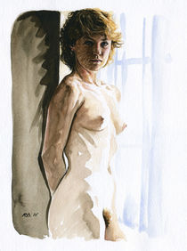 Nude study of a blonde woman standing at the window von Rene Bui