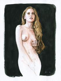 Nude study of a young woman standing with long blonde hair von Rene Bui