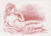 Träumende Jungfrau - erotische Zeichnung by Marita Zacharias