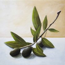 Olive branch - Original, still life painting on canvas by Georgia Korogiannou