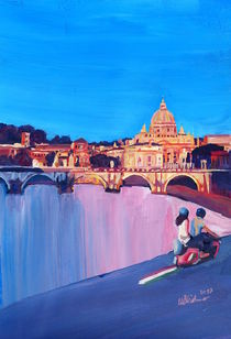 Rome Scene with Motorcycle and view of Vatican by M.  Bleichner