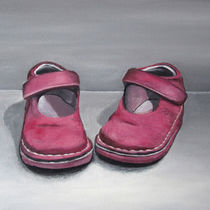Little red shoes - Still life painting by Georgia Korogiannou