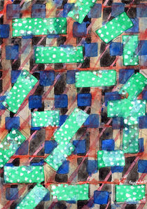 Dotted Green Rectangles on Top Pattern  by Heidi  Capitaine