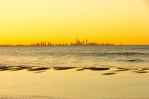 Surfer's Paradise at sunset from Coolangatta beach, Gold coast, Queensland, Australia by Kevin Hellon