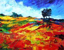 Landschaft, Rot von Eberhard Schmidt-Dranske