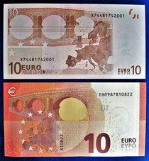 alter und neuer Zehn-Euro-Schein, Rückseite von assy