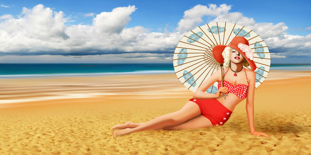 Pin-up-urlaub-strand-marilyn