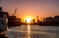 Berlin Skyline - sunset sky Oberbaum Bridge by oh aniki