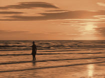 A Gormley Iron man at sunset (Digital Art) by John Wain